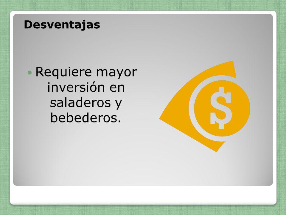 Desventajas Requiere mayor inversión en saladeros y bebederos.