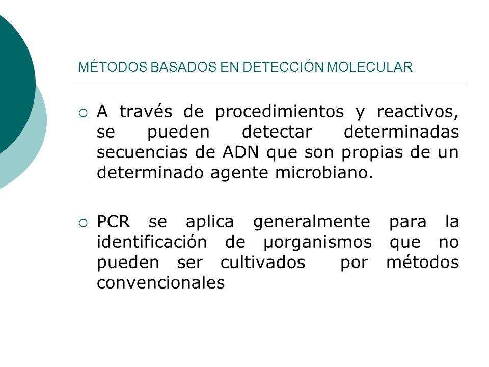 MÉTODOS BASADOS EN DETECCIÓN MOLECULAR A través de procedimientos y reactivos, se pueden detectar determinadas secuencias de ADN que son propias de un determinado agente microbiano.