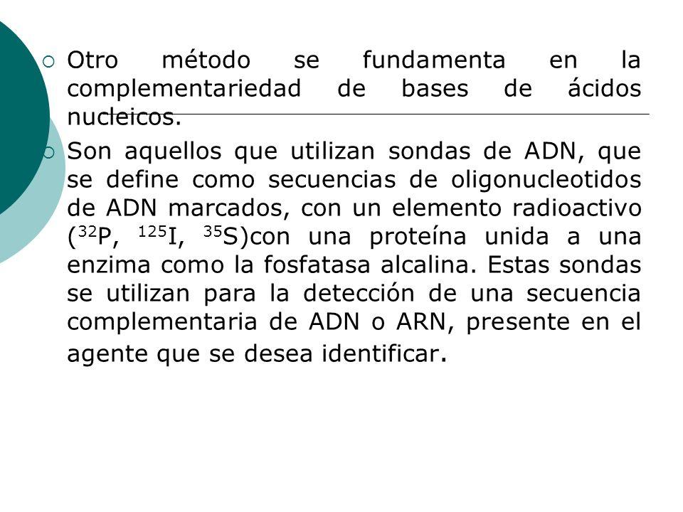 Otro método se fundamenta en la complementariedad de bases de ácidos nucleicos.