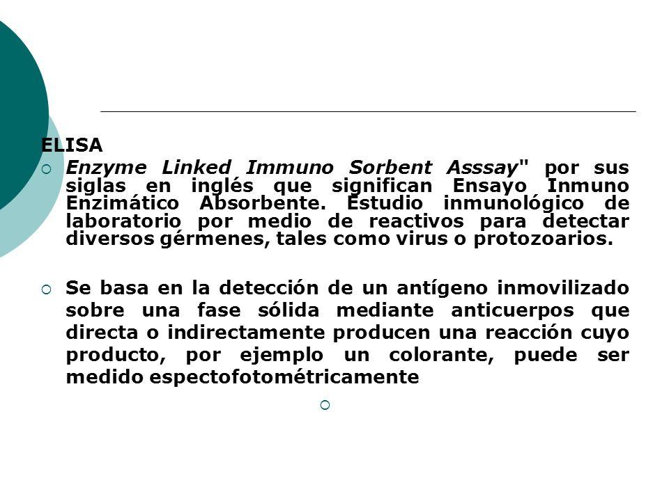 ELISA Enzyme Linked Immuno Sorbent Asssay por sus siglas en inglés que significan Ensayo Inmuno Enzimático Absorbente.