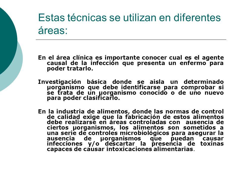 Estas técnicas se utilizan en diferentes áreas: En el área clínica es importante conocer cual es el agente causal de la infección que presenta un enfermo para poder tratarlo.