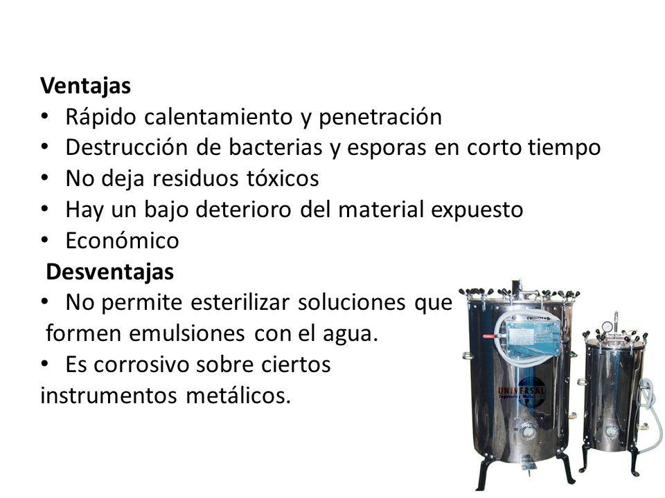 Ventajas Rápido calentamiento y penetración Destrucción de bacterias y esporas en corto tiempo No deja residuos tóxicos Hay un bajo deterioro del mate