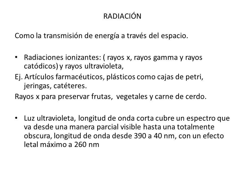 RADIACIÓN Como la transmisión de energía a través del espacio. Radiaciones ionizantes: ( rayos x, rayos gamma y rayos catódicos) y rayos ultravioleta,