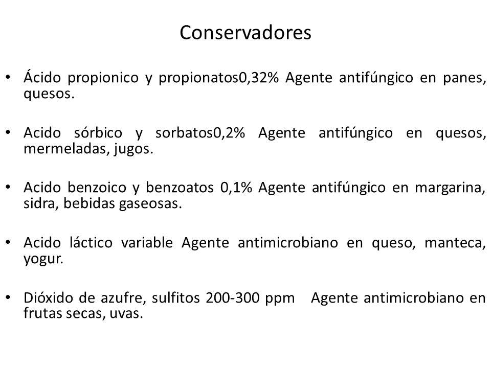 Conservadores Ácido propionico y propionatos0,32% Agente antifúngico en panes, quesos. Acido sórbico y sorbatos0,2% Agente antifúngico en quesos, merm