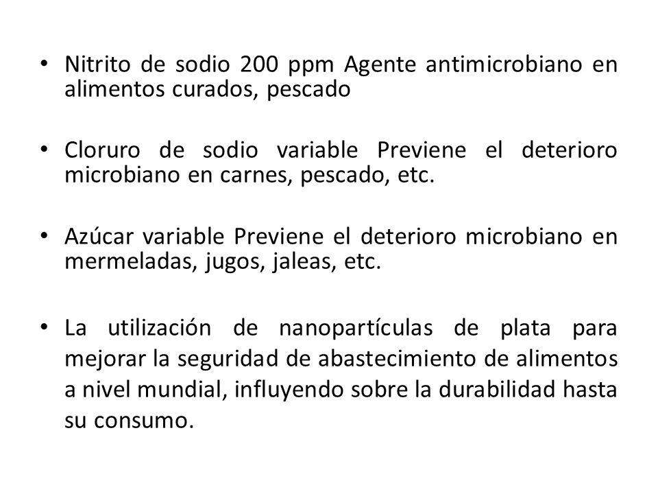Nitrito de sodio 200 ppm Agente antimicrobiano en alimentos curados, pescado Cloruro de sodio variable Previene el deterioro microbiano en carnes, pes