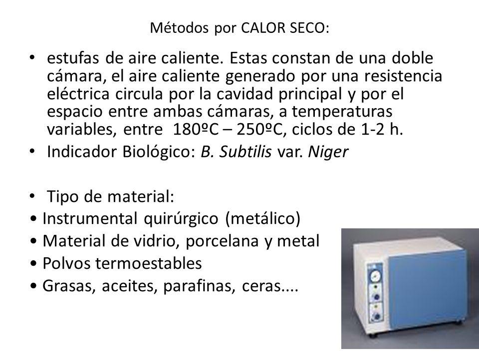Métodos por CALOR SECO: estufas de aire caliente. Estas constan de una doble cámara, el aire caliente generado por una resistencia eléctrica circula p