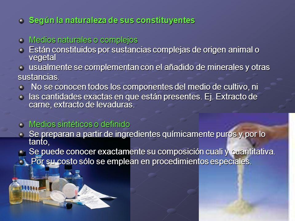 Según la naturaleza de sus constituyentes Medios naturales o complejos Están constituidos por sustancias complejas de origen animal o vegetal usualmen