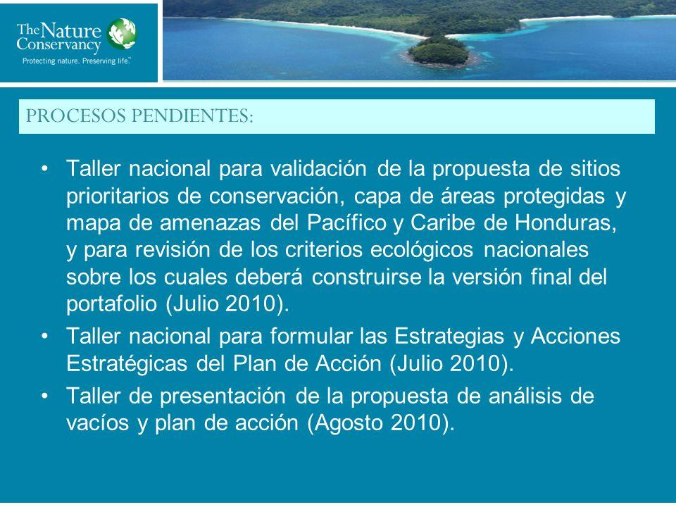 Title of My Slide PROCESOS PENDIENTES: Taller nacional para validación de la propuesta de sitios prioritarios de conservación, capa de áreas protegidas y mapa de amenazas del Pacífico y Caribe de Honduras, y para revisión de los criterios ecológicos nacionales sobre los cuales deberá construirse la versión final del portafolio (Julio 2010).