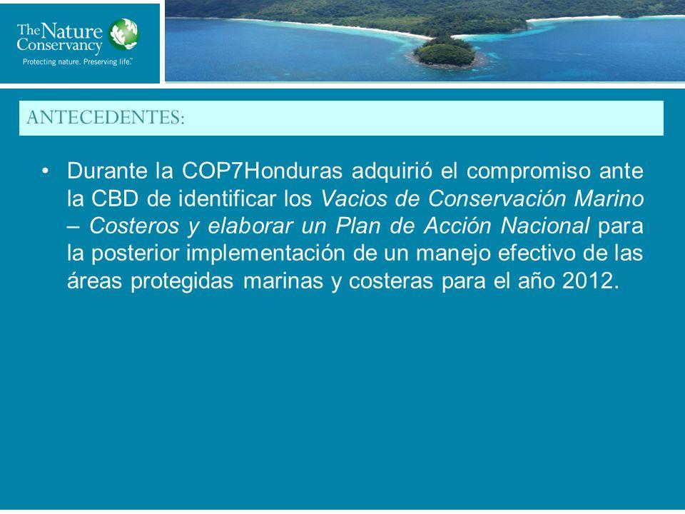 Title of My Slide ANTECEDENTES: Durante la COP7Honduras adquirió el compromiso ante la CBD de identificar los Vacios de Conservación Marino – Costeros y elaborar un Plan de Acción Nacional para la posterior implementación de un manejo efectivo de las áreas protegidas marinas y costeras para el año 2012.