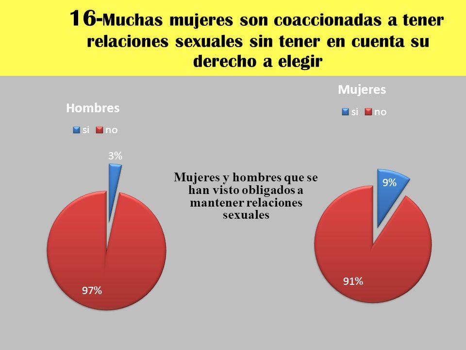 16- Muchas mujeres son coaccionadas a tener relaciones sexuales sin tener en cuenta su derecho a elegir Mujeres y hombres que se han visto obligados a