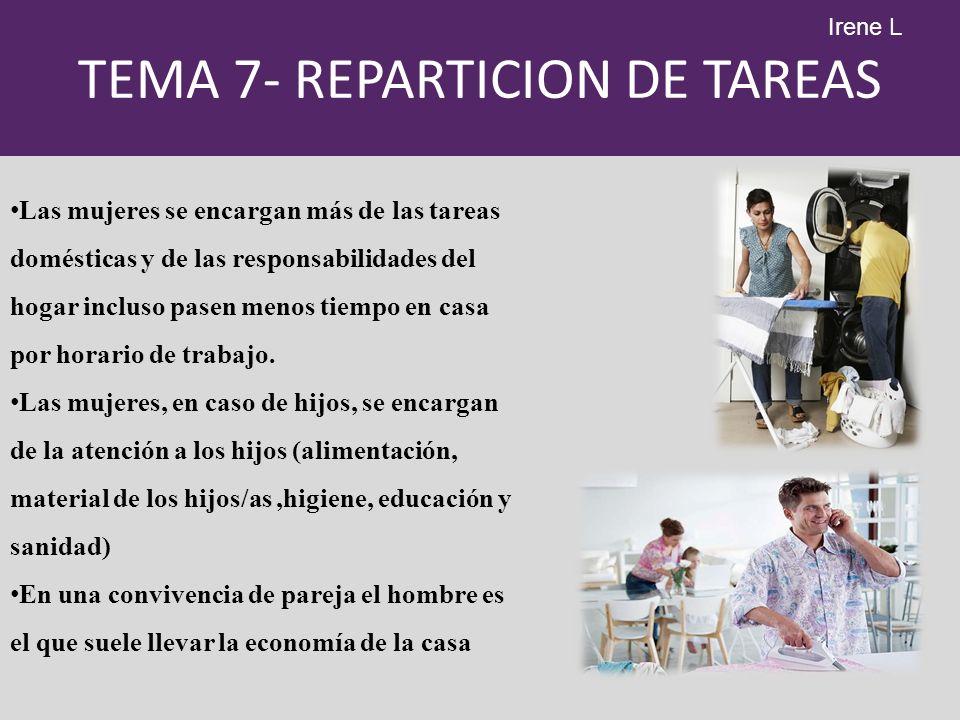 TEMA 7- REPARTICION DE TAREAS Las mujeres se encargan más de las tareas domésticas y de las responsabilidades del hogar incluso pasen menos tiempo en