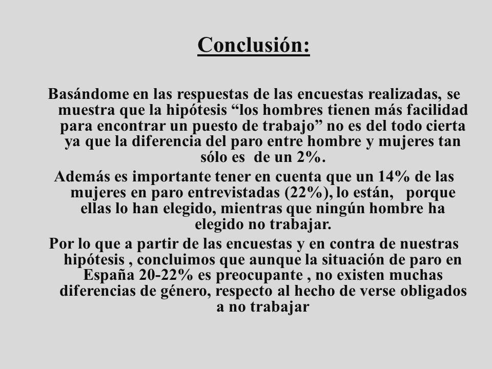 Conclusión: Basándome en las respuestas de las encuestas realizadas, se muestra que la hipótesis los hombres tienen más facilidad para encontrar un pu