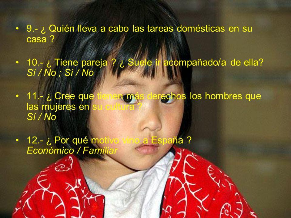 13.- ¿ Hay algún aspecto del trato a las mujeres y niños de su país que no le gusten ?¿ Cuáles .