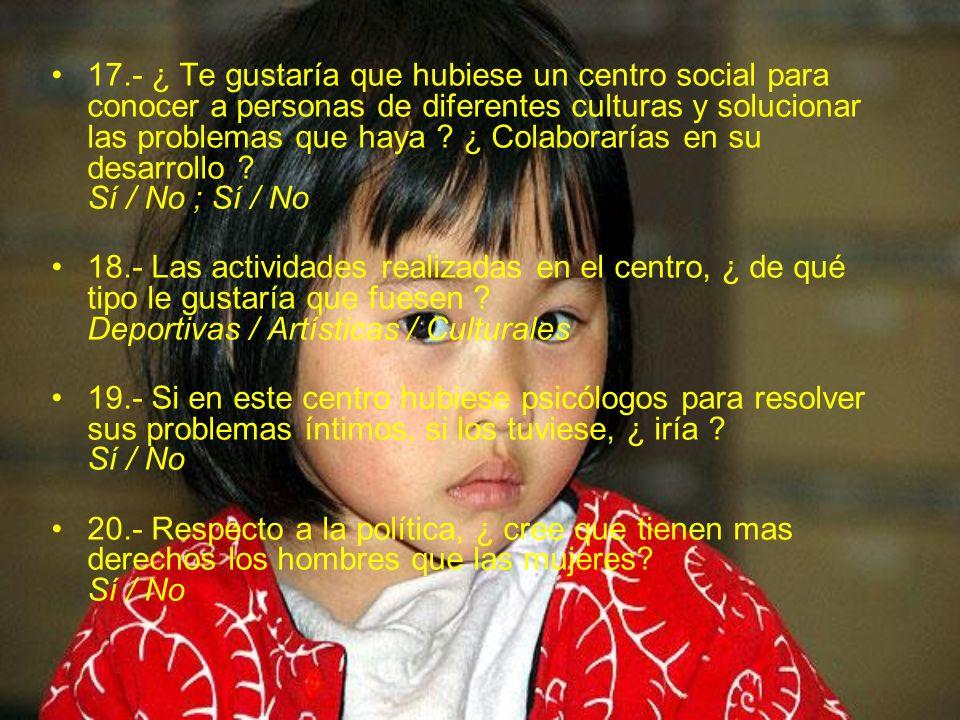 17.- ¿ Te gustaría que hubiese un centro social para conocer a personas de diferentes culturas y solucionar las problemas que haya ? ¿ Colaborarías en