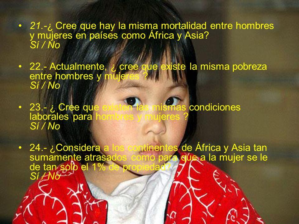21.-¿ Cree que hay la misma mortalidad entre hombres y mujeres en países como África y Asia? Sí / No 22.- Actualmente, ¿ cree que existe la misma pobr