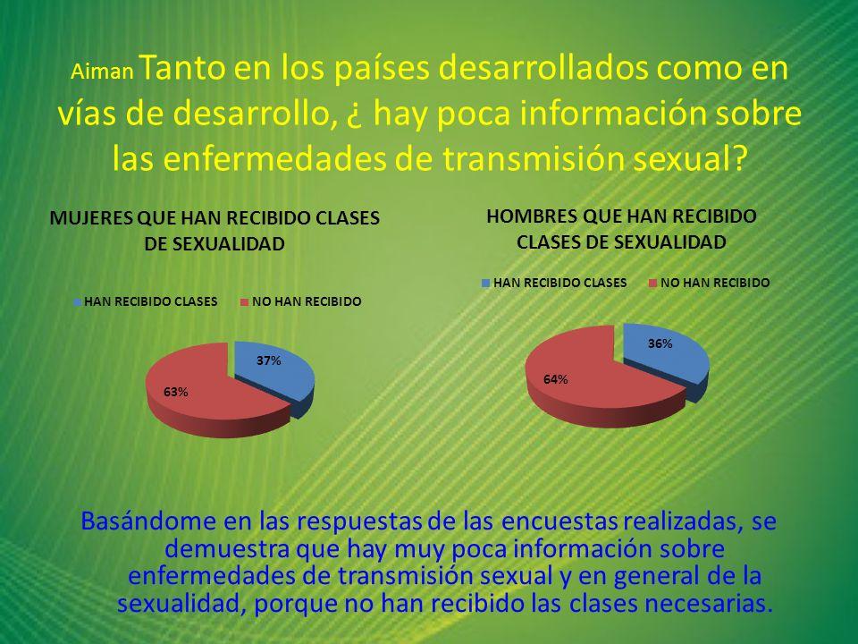 Aiman Tanto en los países desarrollados como en vías de desarrollo, ¿ hay poca información sobre las enfermedades de transmisión sexual? Basándome en