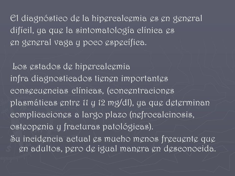 El diagnóstico de la hipercalcemia es en general difícil, ya que la sintomatología clínica es en general vaga y poco específica. Los estados de hiperc