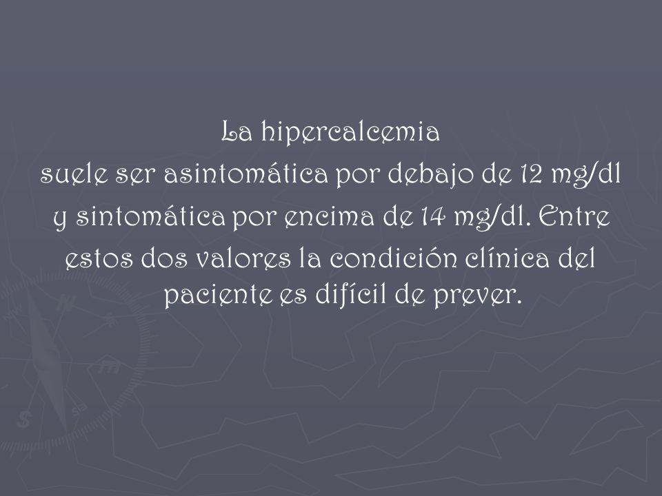 La hipercalcemia suele ser asintomática por debajo de 12 mg/dl y sintomática por encima de 14 mg/dl. Entre estos dos valores la condición clínica del