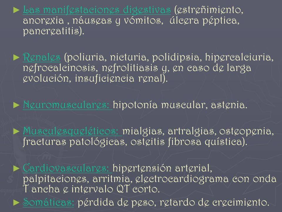 Las manifestaciones digestivas (estreñimiento, anorexia, náuseas y vómitos, úlcera péptica, pancreatitis). Renales (poliuria, nicturia, polidipsia, hi
