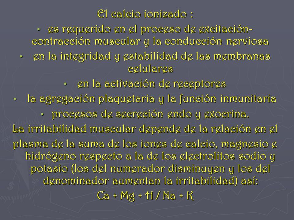 El calcio ionizado : es requerido en el proceso de excitación- contracción muscular y la conducción nerviosa es requerido en el proceso de excitación-