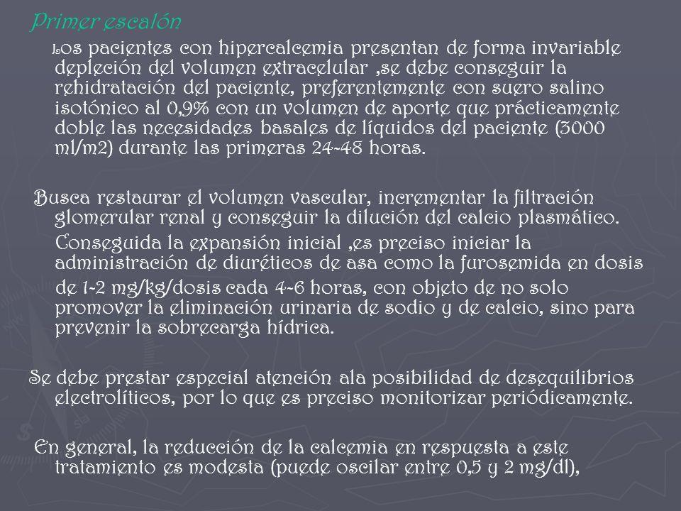 Primer escalón L os pacientes con hipercalcemia presentan de forma invariable depleción del volumen extracelular,se debe conseguir la rehidratación de