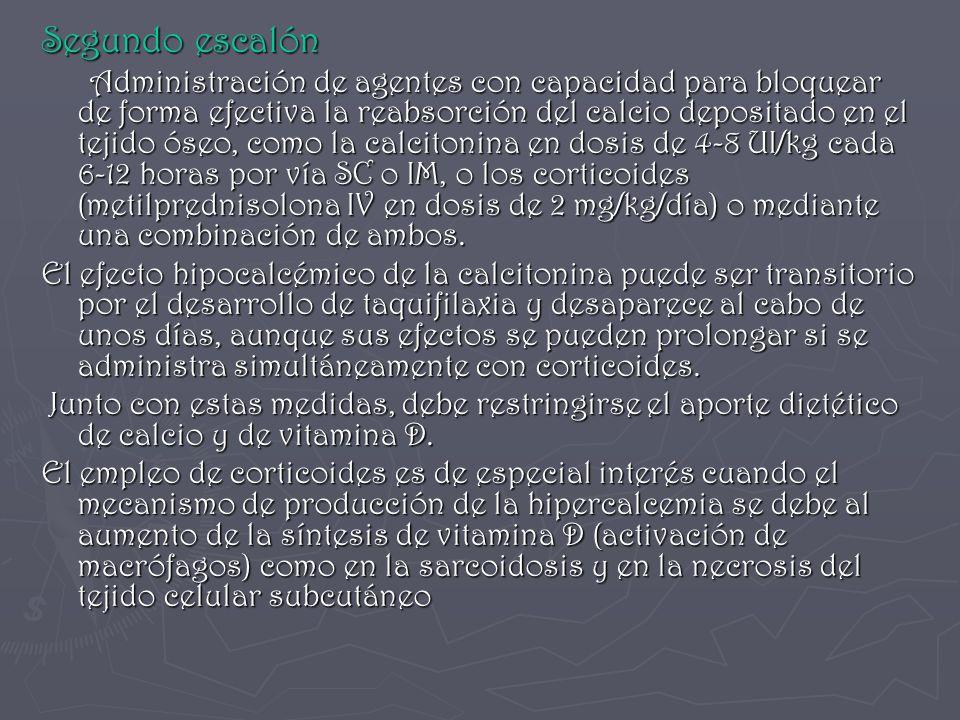 Segundo escalón Administración de agentes con capacidad para bloquear de forma efectiva la reabsorción del calcio depositado en el tejido óseo, como l