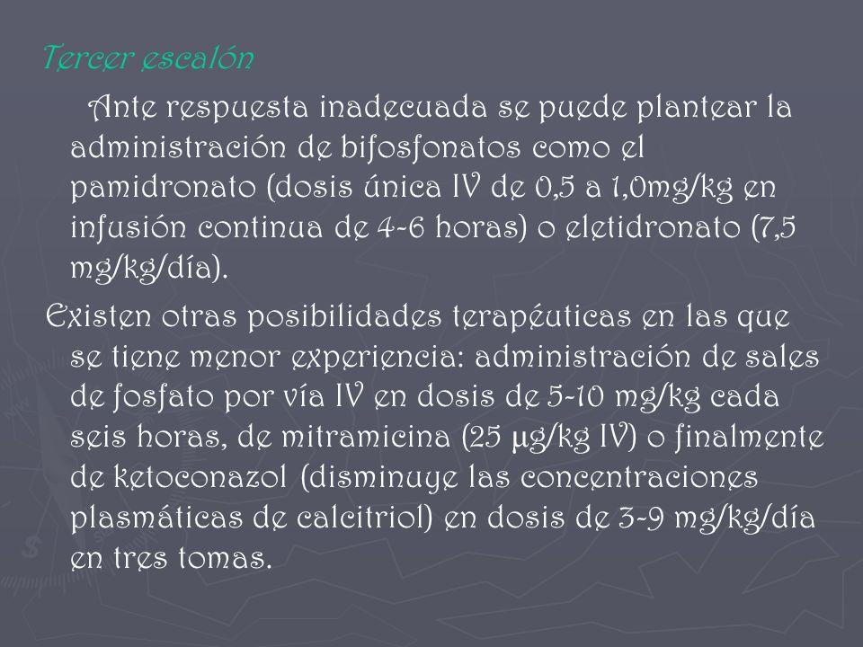 Tercer escalón Ante respuesta inadecuada se puede plantear la administración de bifosfonatos como el pamidronato (dosis única IV de 0,5 a 1,0mg/kg en