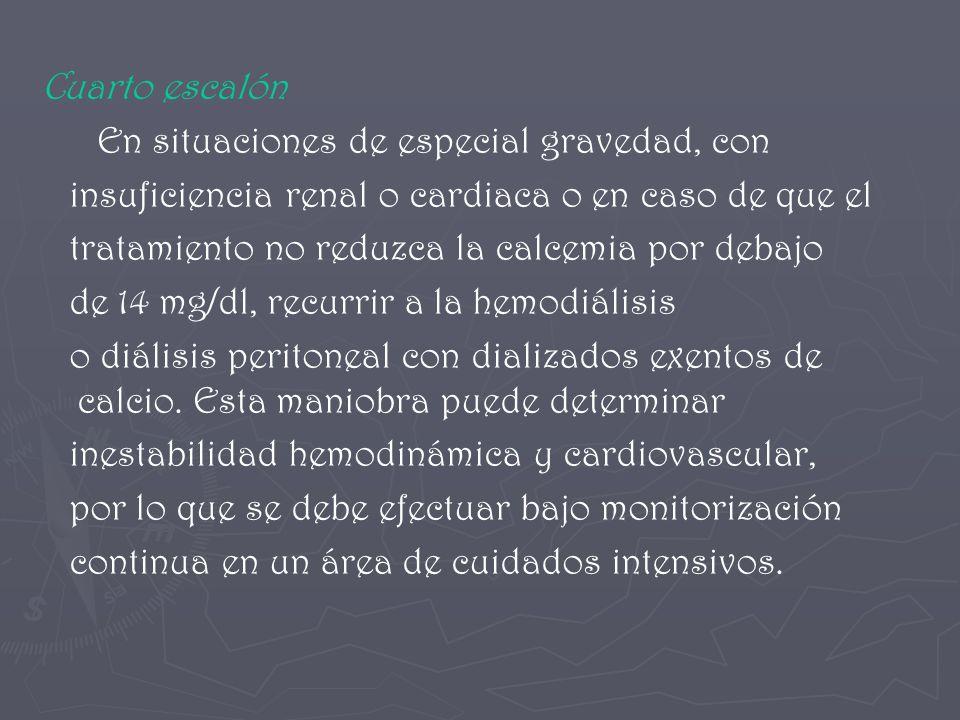 Cuarto escalón En situaciones de especial gravedad, con insuficiencia renal o cardiaca o en caso de que el tratamiento no reduzca la calcemia por deba