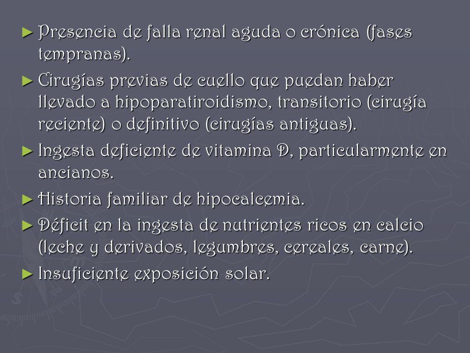 Presencia de falla renal aguda o crónica (fases tempranas). Presencia de falla renal aguda o crónica (fases tempranas). Cirugías previas de cuello que