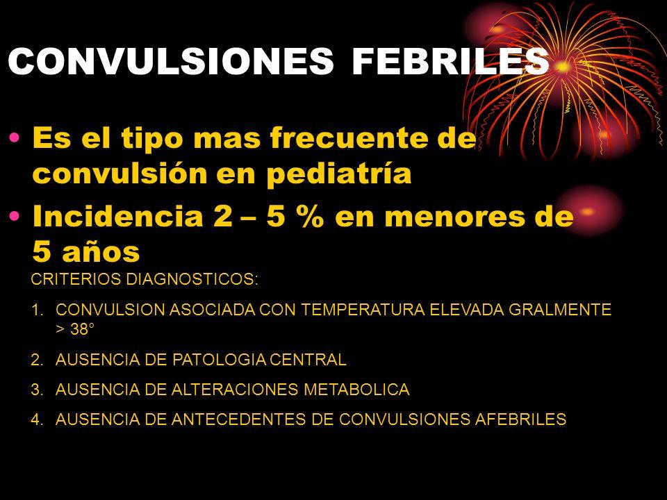 CONVULSIONES FEBRILES Es el tipo mas frecuente de convulsión en pediatría Incidencia 2 – 5 % en menores de 5 años CRITERIOS DIAGNOSTICOS: 1.CONVULSION