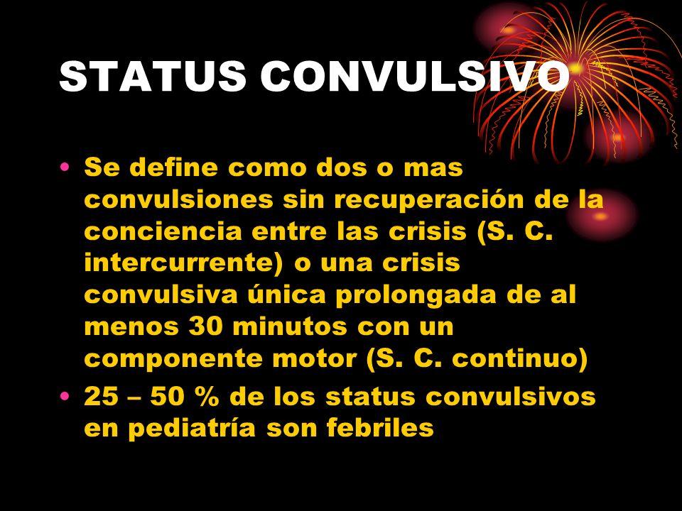 STATUS CONVULSIVO Se define como dos o mas convulsiones sin recuperación de la conciencia entre las crisis (S. C. intercurrente) o una crisis convulsi