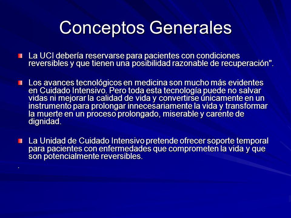 Conceptos Generales La UCI debería reservarse para pacientes con condiciones reversibles y que tienen una posibilidad razonable de recuperación