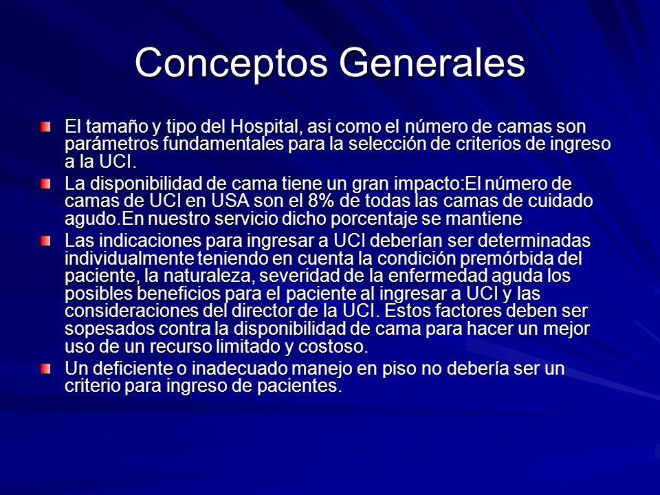 Conceptos Generales El tamaño y tipo del Hospital, asi como el número de camas son parámetros fundamentales para la selección de criterios de ingreso