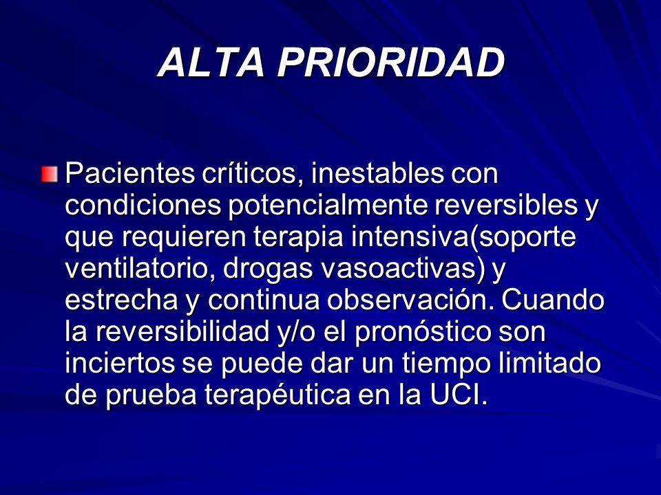 ALTA PRIORIDAD Pacientes críticos, inestables con condiciones potencialmente reversibles y que requieren terapia intensiva(soporte ventilatorio, droga