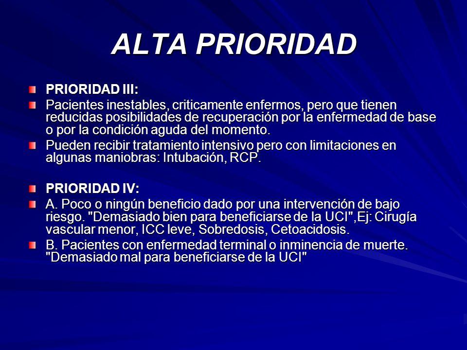 ALTA PRIORIDAD PRIORIDAD III: Pacientes inestables, criticamente enfermos, pero que tienen reducidas posibilidades de recuperación por la enfermedad d