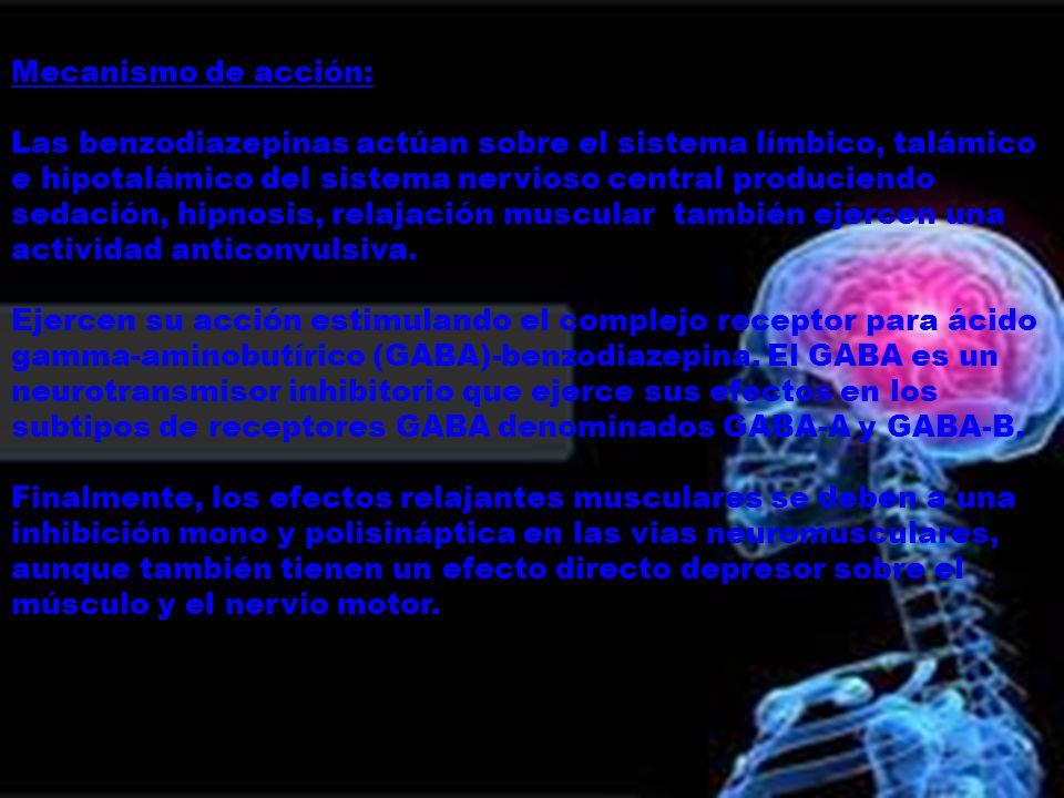 Mecanismo de acción: Las benzodiazepinas actúan sobre el sistema límbico, talámico e hipotalámico del sistema nervioso central produciendo sedación, h
