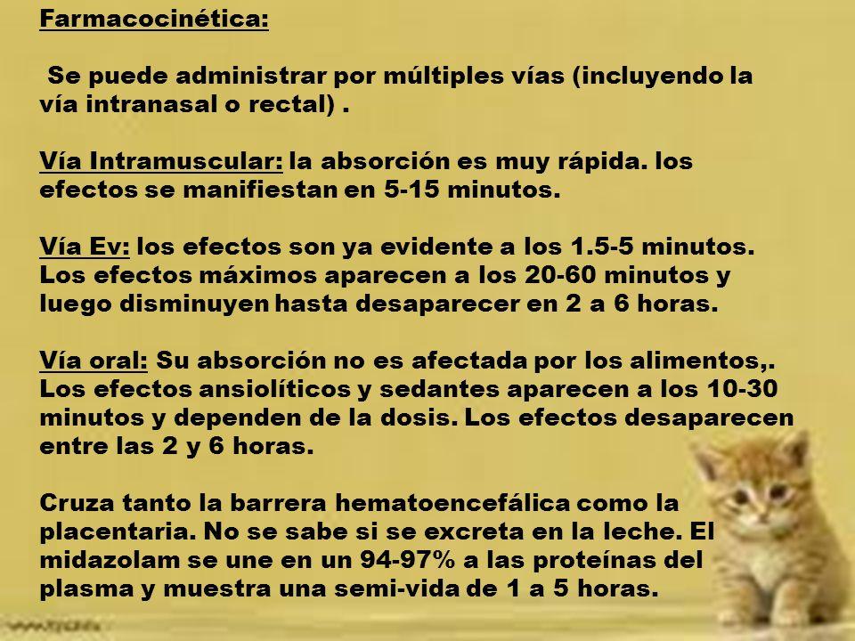 Farmacocinética: Se puede administrar por múltiples vías (incluyendo la vía intranasal o rectal). Vía Intramuscular: la absorción es muy rápida. los e