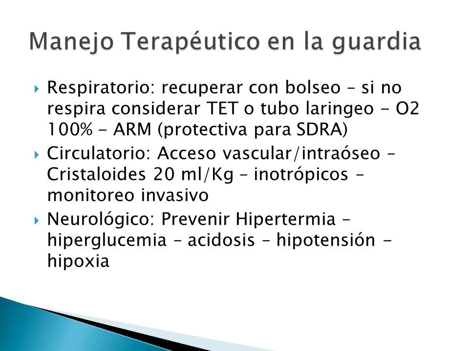 Respiratorio: recuperar con bolseo – si no respira considerar TET o tubo laringeo - O2 100% - ARM (protectiva para SDRA) Circulatorio: Acceso vascular