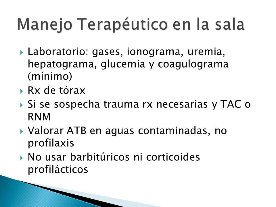 Laboratorio: gases, ionograma, uremia, hepatograma, glucemia y coagulograma (mínimo) Rx de tórax Si se sospecha trauma rx necesarias y TAC o RNM Valor