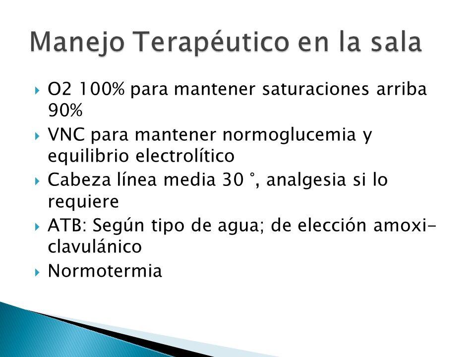 O2 100% para mantener saturaciones arriba 90% VNC para mantener normoglucemia y equilibrio electrolítico Cabeza línea media 30 °, analgesia si lo requ