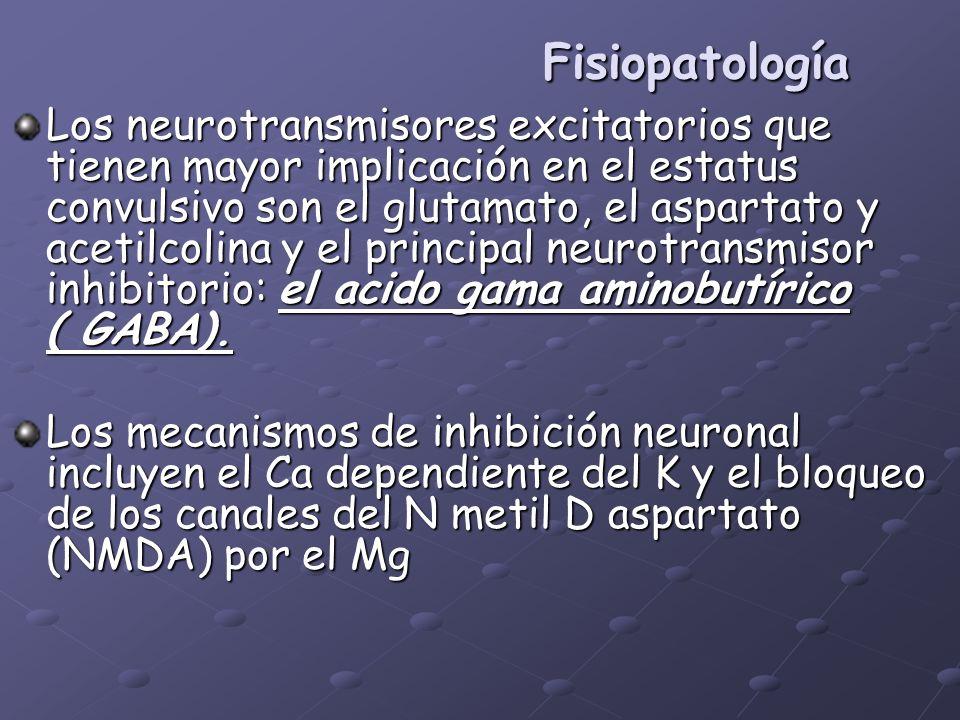 Fisiopatología Los neurotransmisores excitatorios que tienen mayor implicación en el estatus convulsivo son el glutamato, el aspartato y acetilcolina
