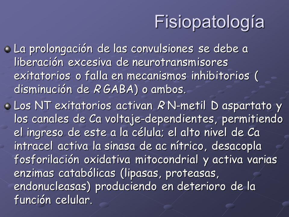 Fisiopatología La prolongación de las convulsiones se debe a liberación excesiva de neurotransmisores exitatorios o falla en mecanismos inhibitorios (
