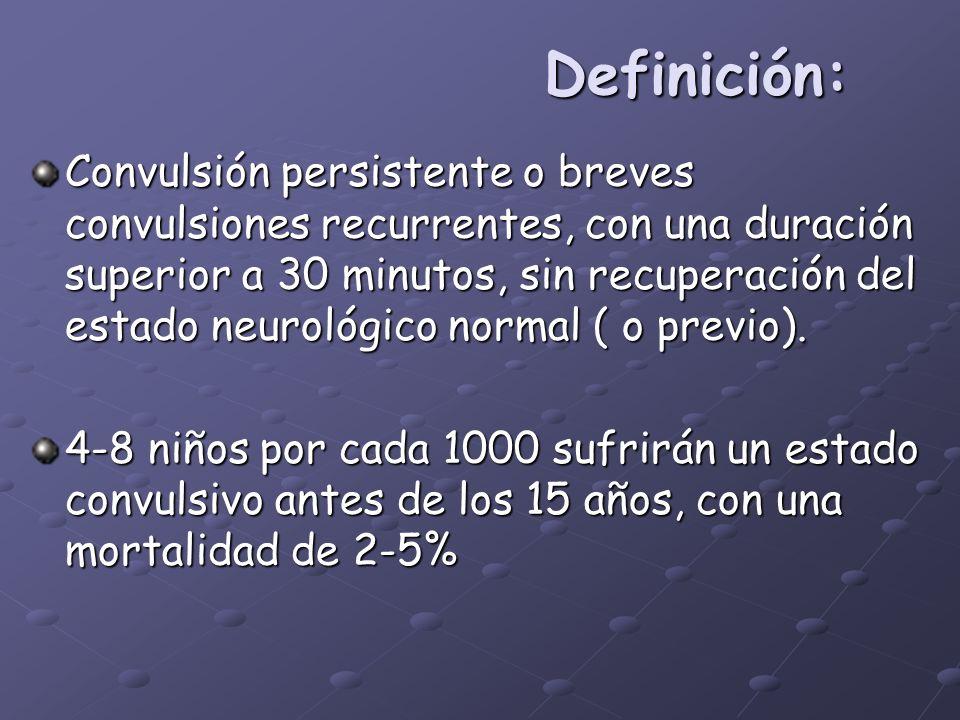 Definición: Convulsión persistente o breves convulsiones recurrentes, con una duración superior a 30 minutos, sin recuperación del estado neurológico