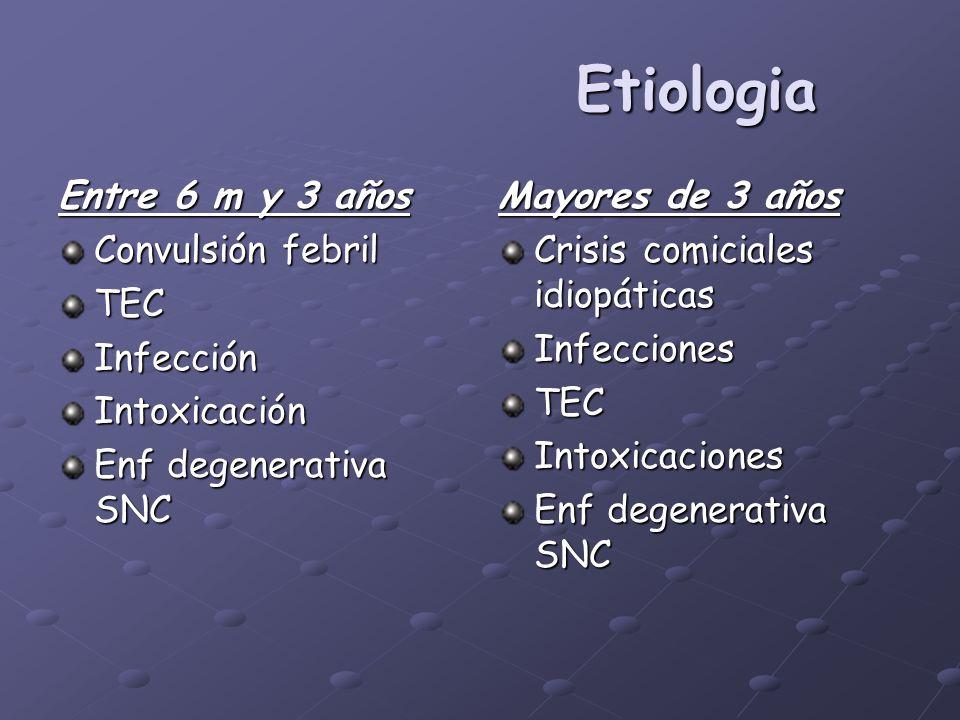 Etiologia Entre 6 m y 3 años Convulsión febril TECInfecciónIntoxicación Enf degenerativa SNC Mayores de 3 años Crisis comiciales idiopáticas Infeccion