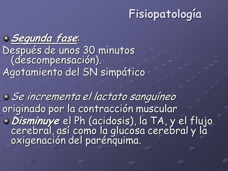 Fisiopatología Segunda fase: Después de unos 30 minutos (descompensación). Agotamiento del SN simpático Se incrementa el lactato sanguíneo originado p