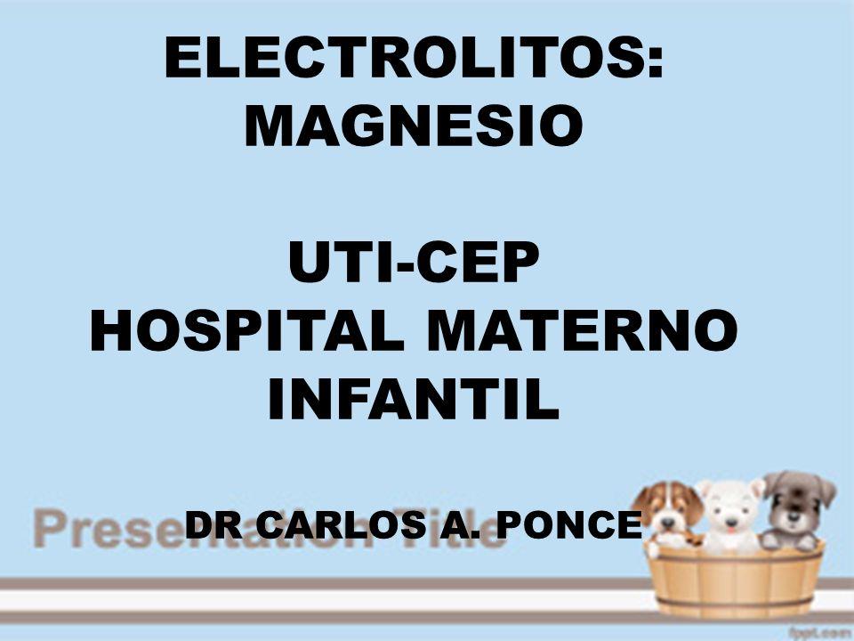 Magnesio: 2º cation intracelular mas abundante.