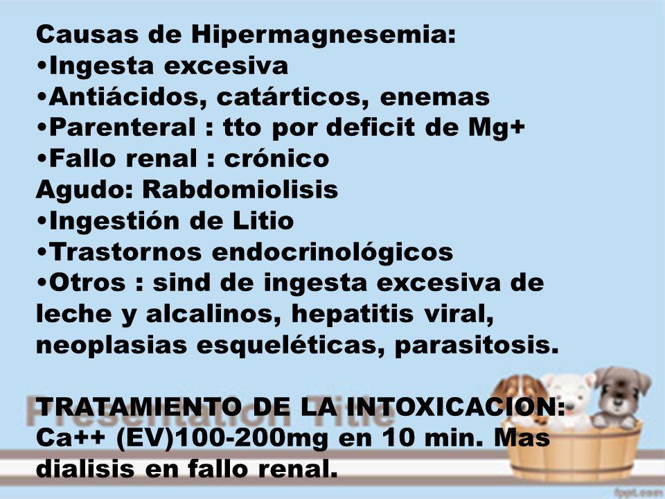 Causas de Hipermagnesemia: Ingesta excesiva Antiácidos, catárticos, enemas Parenteral : tto por deficit de Mg+ Fallo renal : crónico Agudo: Rabdomioli