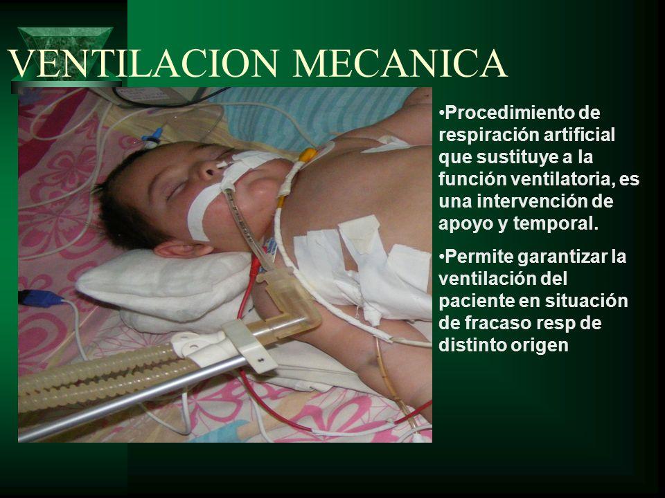 VENTILACION MECANICA Procedimiento de respiración artificial que sustituye a la función ventilatoria, es una intervención de apoyo y temporal. Permite