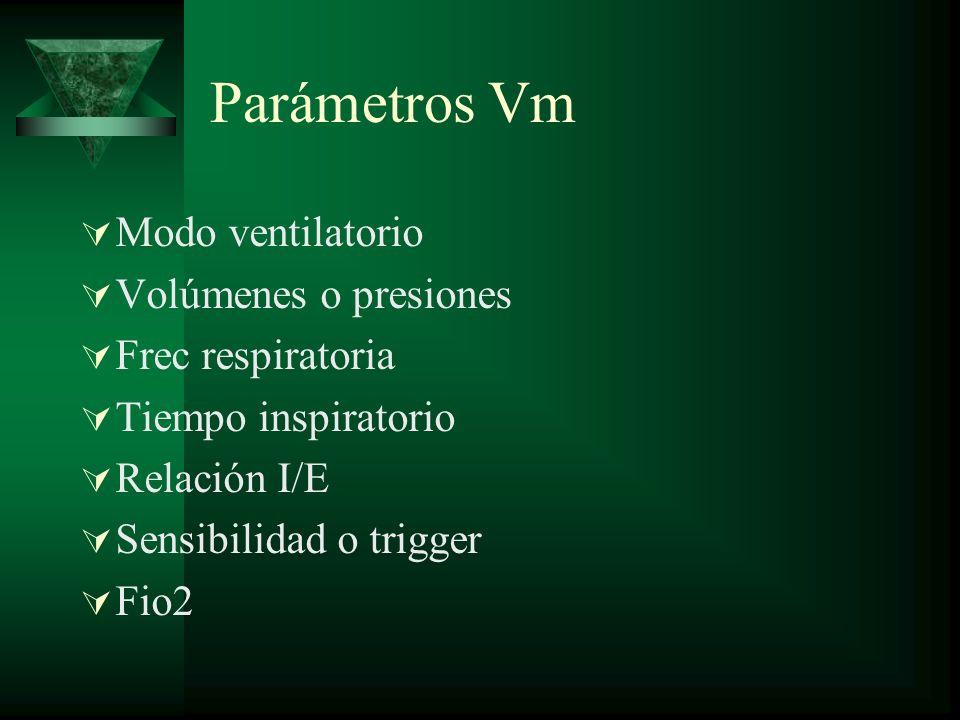 Parámetros Vm Modo ventilatorio Volúmenes o presiones Frec respiratoria Tiempo inspiratorio Relación I/E Sensibilidad o trigger Fio2