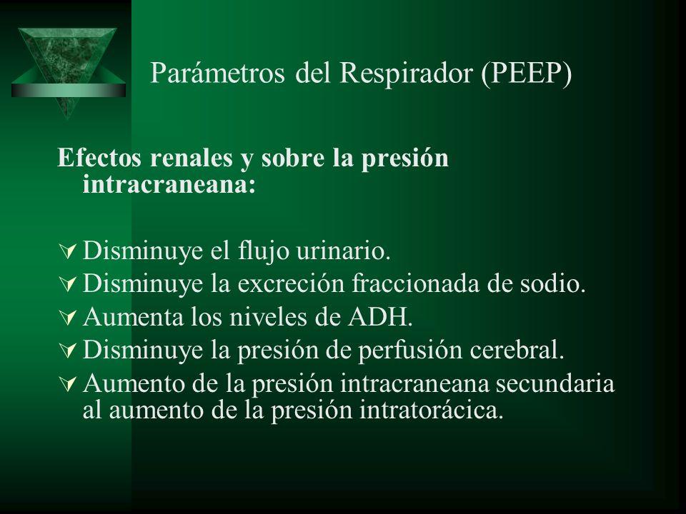 Parámetros del Respirador (PEEP) Efectos renales y sobre la presión intracraneana: Disminuye el flujo urinario. Disminuye la excreción fraccionada de